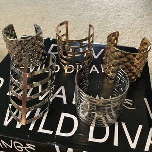 Set of 5 Gold & Silver Cuff Bracelets